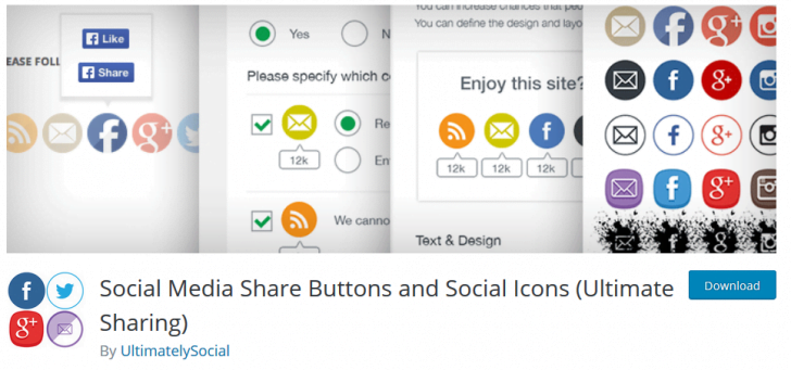 vtičnik social media share buttons and social icons