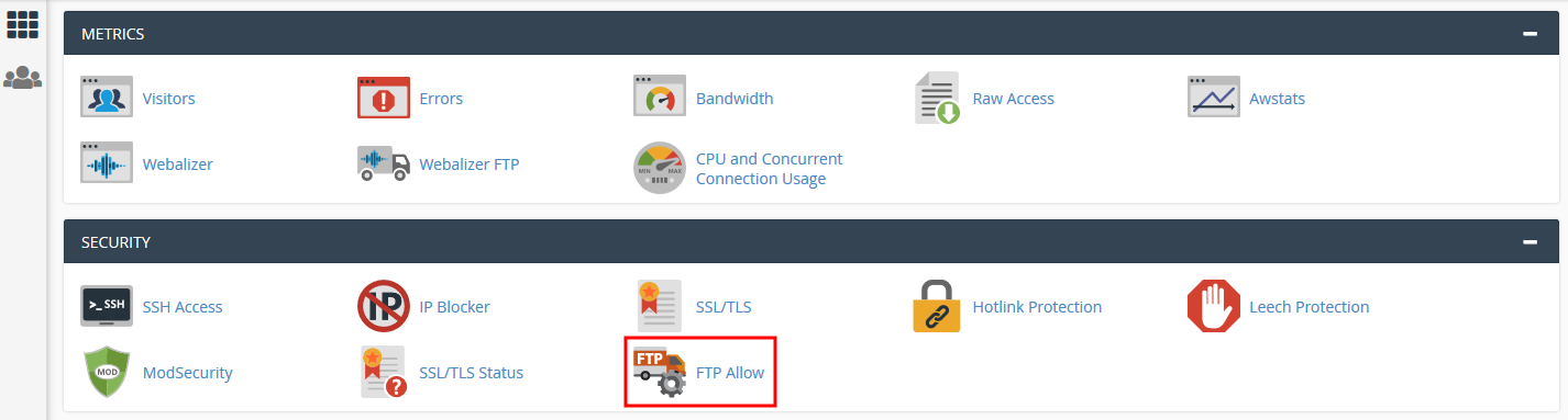 How to set up FTP connection from my location in cPanel